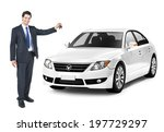 Stock photo business man holding a key of the white car 197729297