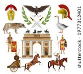 Symbols of ancient Rome. Roman empire set with coat of arms, helmet, she-wolf, goose, Triumphal arch and armed soldiers. Vector illustration isolated on white background