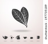Tea leafs detailed vector monochrome icon in the air with shadow. With set of tea icons - tea pot, tea bag, kettle, cups and mugs.