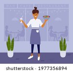 young happy waitress or woman... | Shutterstock .eps vector #1977356894