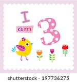 baby bird i am 3 years old... | Shutterstock .eps vector #197736275