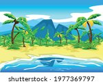 tropical beach with palm trees... | Shutterstock .eps vector #1977369797