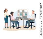 business men and women work in... | Shutterstock .eps vector #1977373817