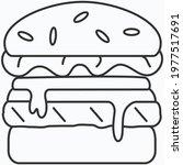 big juicy cheeseburger cartoon... | Shutterstock .eps vector #1977517691