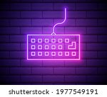 keyboard neon icon. simple thin ...