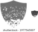damaged shield halftone dotted... | Shutterstock .eps vector #1977565007