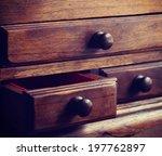 wooden drawers old vintage... | Shutterstock . vector #197762897