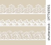 set of white lace vector borders | Shutterstock .eps vector #197765501