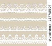 set of white lace vector borders | Shutterstock .eps vector #197765507