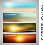 Stock vector collection of abstract blurred banners with sea and summer colors 197771231