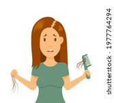 hair loss in female problem....   Shutterstock .eps vector #1977764294
