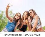 three beautiful woman eating... | Shutterstock . vector #197787425