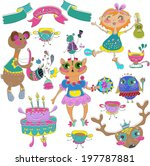 cartoon color party with little ... | Shutterstock . vector #197787881