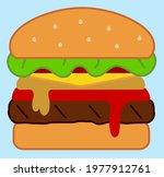 big juicy cheeseburger cartoon... | Shutterstock .eps vector #1977912761