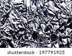 Crumpled Wrinkled Silver Foil...