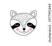 cute adorable raccoon in doodle ... | Shutterstock .eps vector #1977991844
