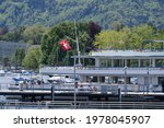 Small photo of Ship named Linth at gangplank of lake Zurich at springtime