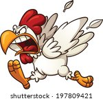 angry cartoon chicken. vector... | Shutterstock .eps vector #197809421