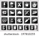 retro summer food and drinks... | Shutterstock .eps vector #197810255