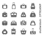 luggage icons set grey