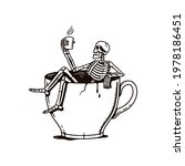 skeleton sitting in a cup black ... | Shutterstock .eps vector #1978186451