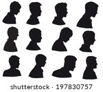 face of man  silhouette of men... | Shutterstock . vector #197830757