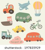 transport set with tractor ... | Shutterstock .eps vector #197835929