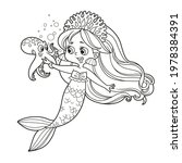 cute little mermaid girl in... | Shutterstock .eps vector #1978384391