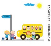 happy girls and boys back to... | Shutterstock .eps vector #197839721
