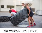 flipping tractor tires as...   Shutterstock . vector #197841941