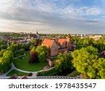 Castle of the Warmian Chapter in Olsztyn - Panorama of the city of Olsztyn from a bird