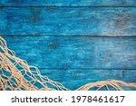 Fishing Net On Boho Blue Board...