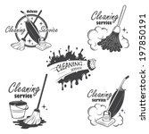 Set of cleaning service emblems, labels and designed elements.