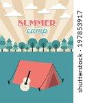 summer camp card design. vector ... | Shutterstock .eps vector #197853917