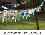 Clothespins and clothes line on ...