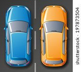vector cars. top view.  | Shutterstock .eps vector #197873504
