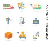 logistic freight service icons... | Shutterstock . vector #197876777