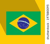 Brazil  Flat Icon with Brazilian Flag. Vector. EPS10