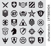 military symbol icons | Shutterstock .eps vector #197880404