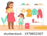 kids clothing store. girl with... | Shutterstock .eps vector #1978852307