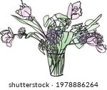 Bouquet Of Tulips And Lilac In...