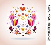 flowers  bunnies  hearts  ... | Shutterstock .eps vector #197890091
