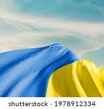 Ukraine waving flag in the sky.