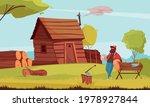 lumberjack coffee break in...   Shutterstock .eps vector #1978927844
