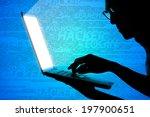 one man holding labtop ,Hacker - stock photo