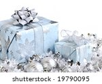 Wrapped Gift Boxes With Silver...