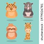 animals leopard rhino giraffe...   Shutterstock .eps vector #1979026781