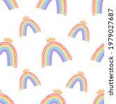 a boho rainbow. for fabrics ...   Shutterstock .eps vector #1979027687