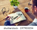 man with note pad and game plan ... | Shutterstock . vector #197903354