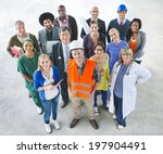 group of multiethnic diverse... | Shutterstock . vector #197904491